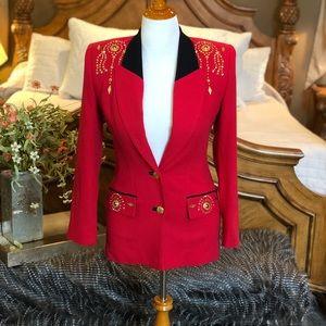 Vintage 80's Criscione Red Embellished Blazer XS